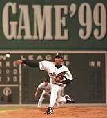 Pedro Martinez of the Boston Red Sox pitches in the second inning of the 70th AllStar Game 13 July 1999 at Fenway Park in Boston Massachusetts...