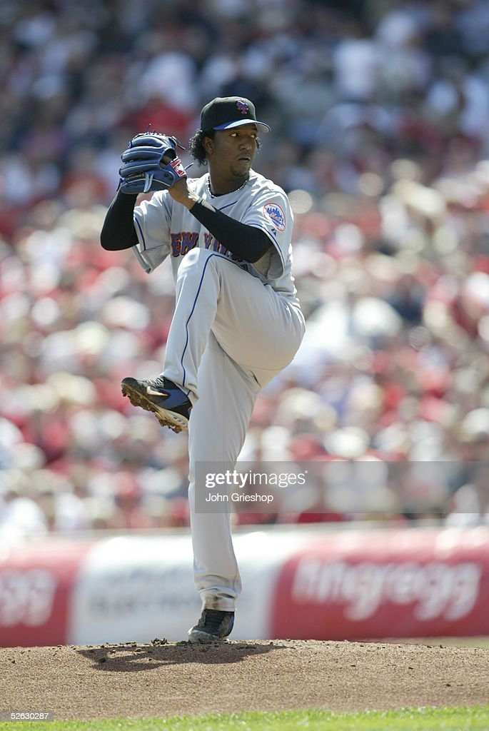 Pedro Martinez of the New York Mets pitches at the Great American Ballpark on April 4, 2005 in Cincinnati, Ohio. The Reds defeated the Mets 7 - 6.