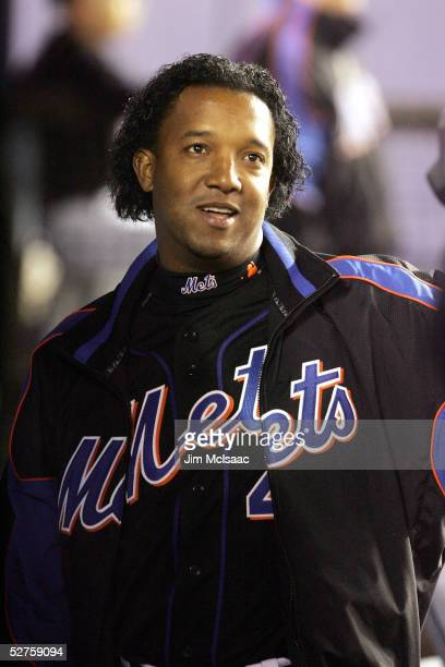 Pedro Martinez of the New York Mets watches his teammates play the Philadelphia Phillies on May 4 2005 at Shea Stadium in Flushing New York