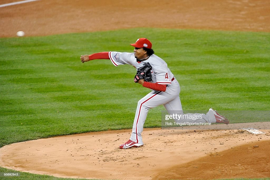 <a gi-track='captionPersonalityLinkClicked' href=/galleries/search?phrase=Pedro+Martinez&family=editorial&specificpeople=171773 ng-click='$event.stopPropagation()'>Pedro Martinez</a> #45 of the Philadelphia Phillies pitches against the New York Yankees during Game Six of the 2009 MLB World Series at Yankee Stadium on November 4, 2009 in the Bronx borough of New York City.