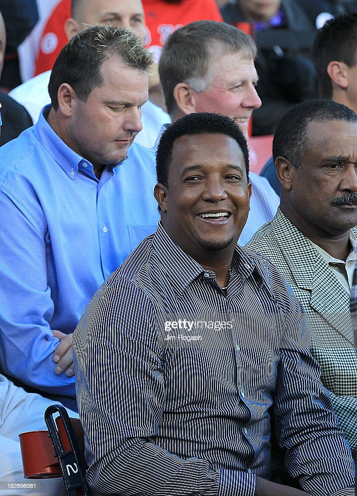 <a gi-track='captionPersonalityLinkClicked' href=/galleries/search?phrase=Pedro+Martinez&family=editorial&specificpeople=171773 ng-click='$event.stopPropagation()'>Pedro Martinez</a> participates in a public memorial service for former Red Sox player Johnny Pesky at Fenway Park at Fenway Park on September 23, 2012 in Boston, Massachusetts.