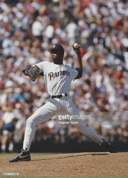 Pedro Martinez pitcher for the San Diego Padres throws a pitch during the Major League Baseball National League West game against the Cincinnati Reds...