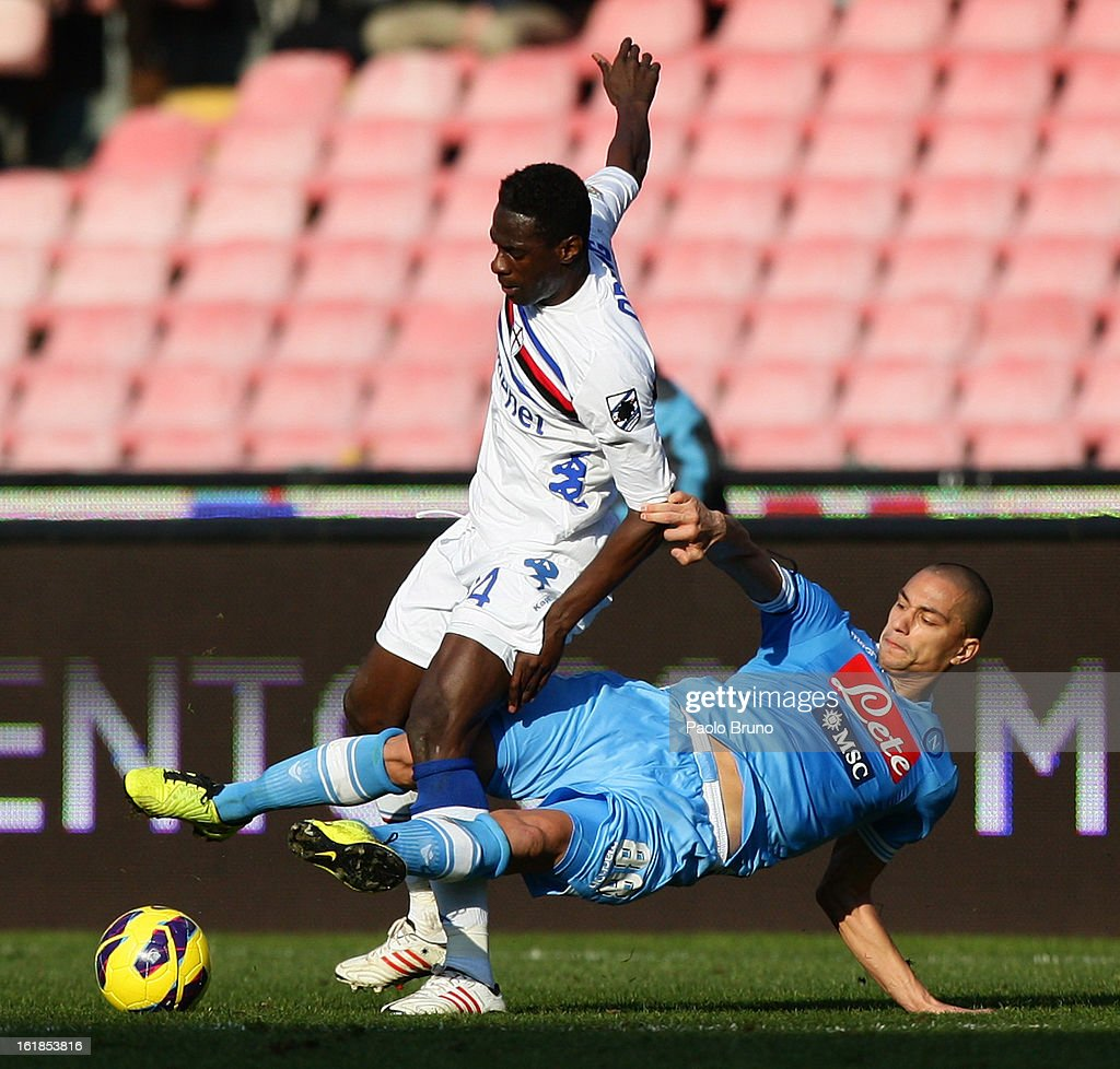 Pedro Mba Obiang (L) of UC Sampdoria competes for the ball with Gohkan Inler of SSC Napoli during the Serie A match between SSC Napoli and UC Sampdoria at Stadio San Paolo on February 17, 2013 in Naples, Italy.