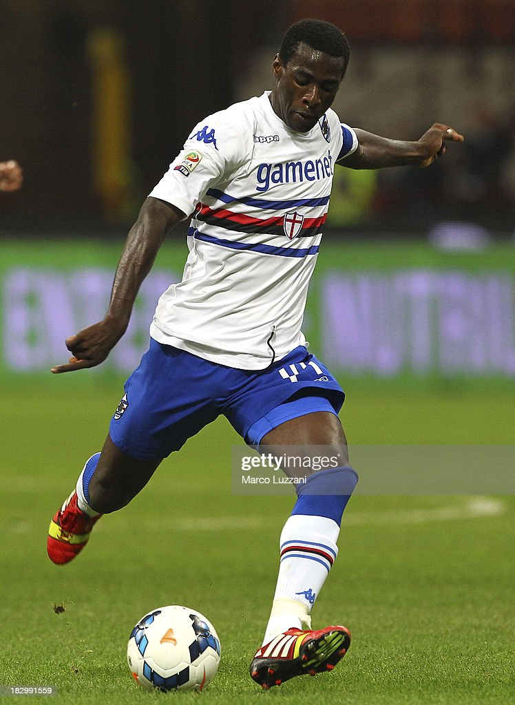 Pedro Mba Obiang of UC Sampdoria in action during the Serie A match between AC Milan and UC Sampdoria at Stadio Giuseppe Meazza on September 28, 2013 in Milan, Italy.