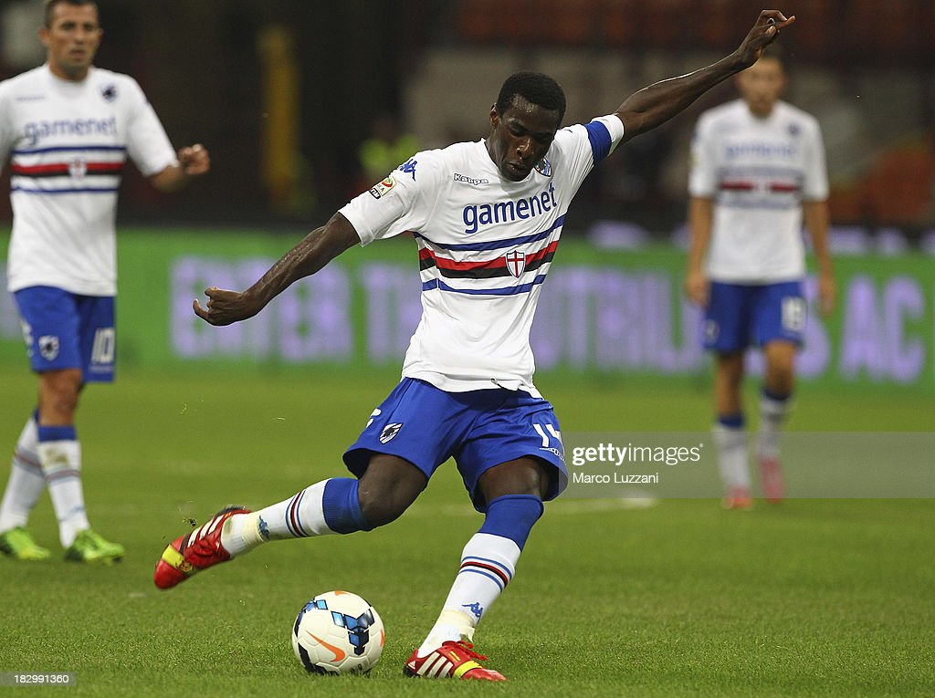 Pedro Mba Obiang of UC Sampdoria kicks the ball during the Serie A match between AC Milan and UC Sampdoria at Stadio Giuseppe Meazza on September 28, 2013 in Milan, Italy.