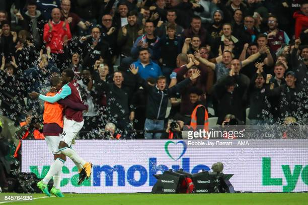Pedro Mba Obiang of West Ham United celebrates after scoring a goal to make it 10 during the Premier League match between West Ham United and...