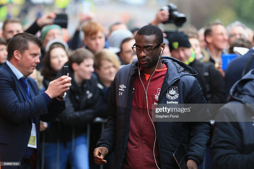 Pedro Mba Obiang of West Ham United is seen on arrival at the stadium prior to the Barclays Premier League match between Norwich City and West Ham United at Carrow Road on February 13, 2016 in Norwich, England.