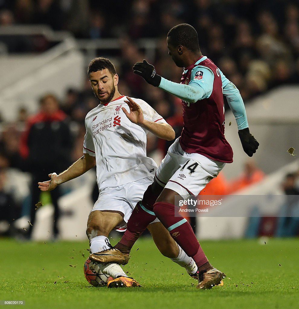 Pedro Mba Obiang of West Ham United stamps on the leg of Kevin Stewart of Liverpool during the The Emirates FA Cup Fourth Round Replay match between West Ham United and Liverpool at Boleyn Ground on February 9, 2016 in London, England.
