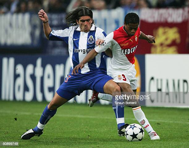 Pedro Mendes of FC Porto battles with Patrice Evra of AS Monaco during the UEFA Champions League Final match between AS Monaco and FC Porto at the...