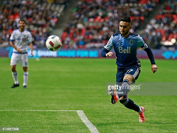 Pedro Morales of the Vancouver Whitecaps kicks the ball during their MLS game against the Montreal Impact March 6 2016 at BC Place in Vancouver...