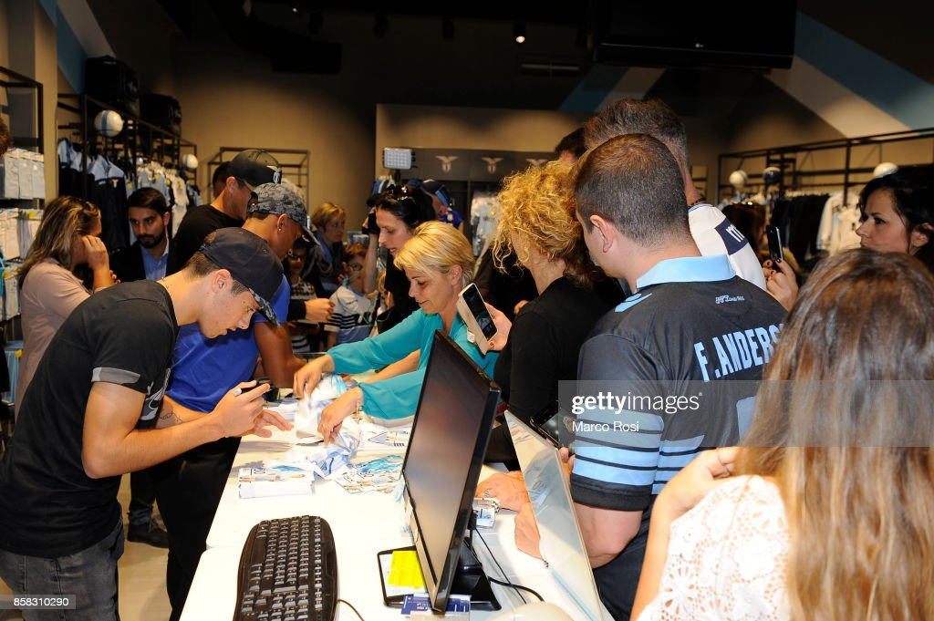 Pedro Neto and Nani of SS Lazio during the SS Lazio players visit to the club's store on October 6, 2017 in Rome, Italy.