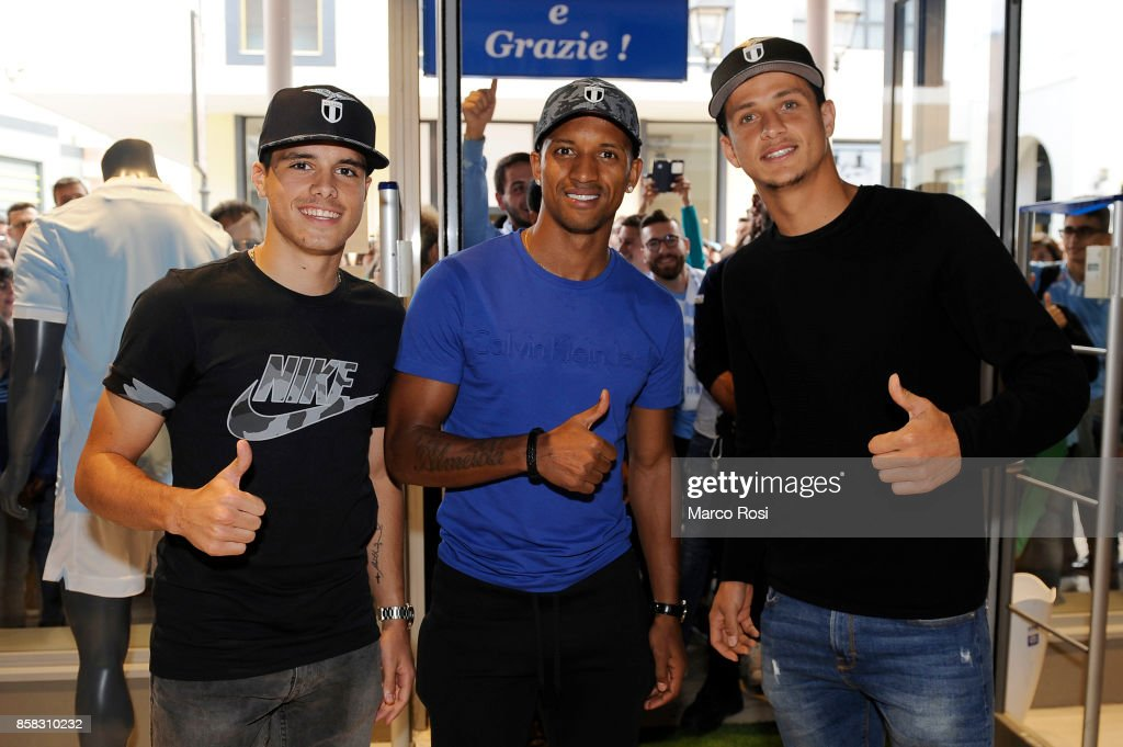 Pedro Neto, Nani and Luiz Felipe of SS Lazio during the SS Lazio players visit to the club's store on October 6, 2017 in Rome, Italy.