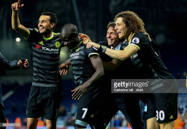 Pedro N'golo KanteDavid Luiz and Antonio Conte manager / head coach of Chelsea celebrate winning the Premier League during the Premier League match...