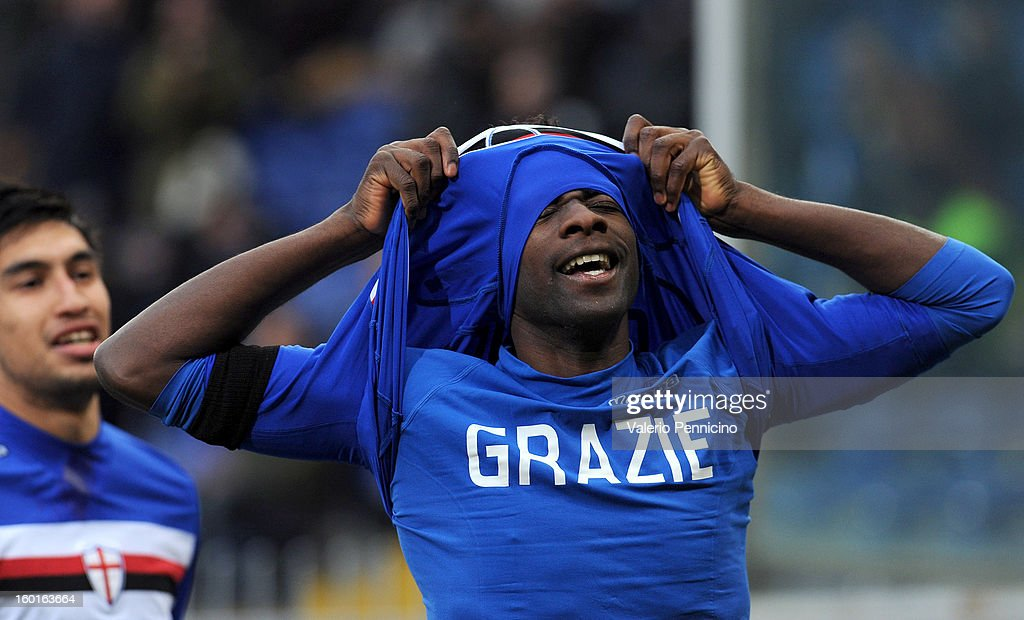 Pedro Obiang of UC Sampdoria celebrates his goal during the Serie A match between UC Sampdoria and Pescara at Stadio Luigi Ferraris on January 27, 2013 in Genoa, Italy.
