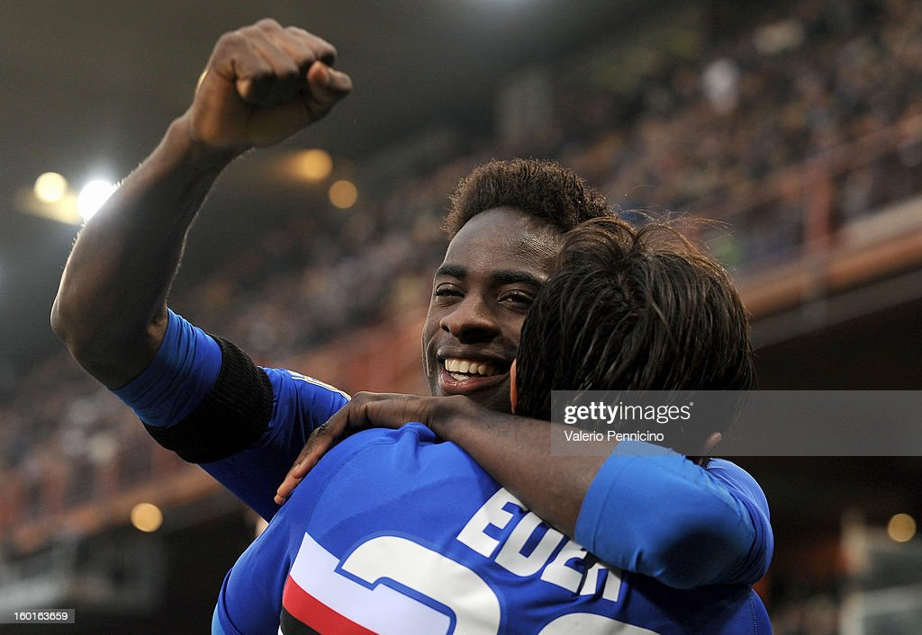 Pedro Obiang (L) of UC Sampdoria celebrates his goal with team-mate Citadin Martins Eder during the Serie A match between UC Sampdoria and Pescara at Stadio Luigi Ferraris on January 27, 2013 in Genoa, Italy.