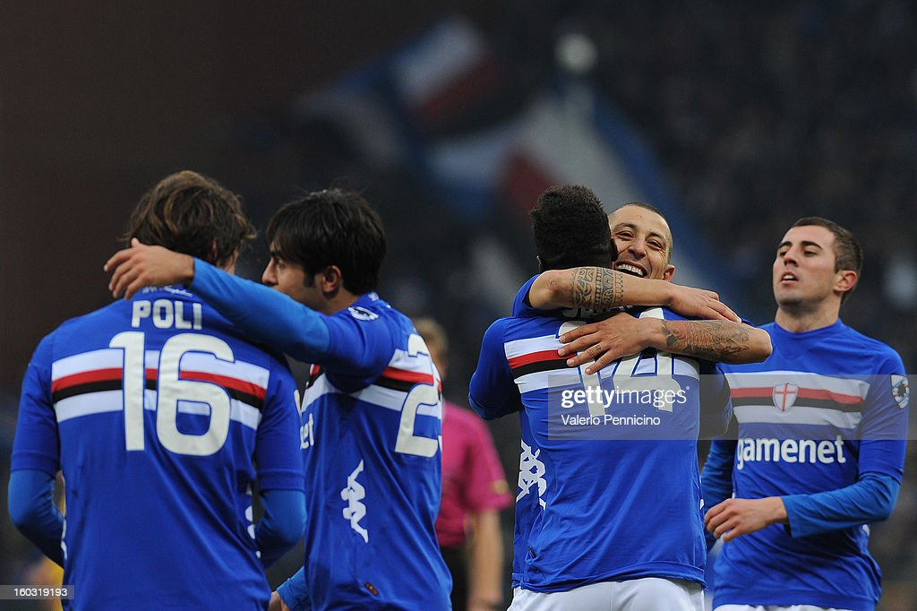 Pedro Obiang (C) of UC Sampdoria celebrates his goal with team-mates during the Serie A match between UC Sampdoria and Pescara at Stadio Luigi Ferraris on January 27, 2013 in Genoa, Italy.