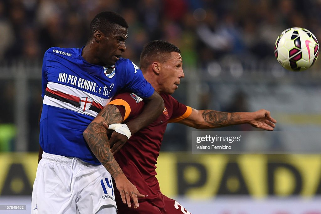 Pedro Obiang of UC Sampdoria competes with Jose Cholevas of AS Roma during the Serie A match between UC Sampdoria and AS Roma at Stadio Luigi...