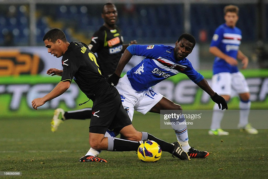 Pedro Obiang (R) of UC Sampdoria tackles Allan of Udinese Calcio during the Serie A match between UC Sampdoria and Udinese Calcio at Stadio Luigi Ferraris on December 10, 2012 in Genoa, Italy.