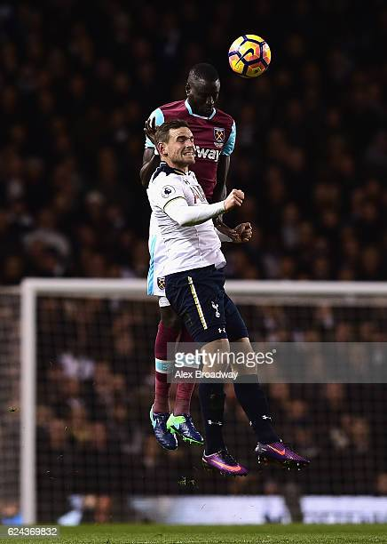 Pedro Obiang of West Ham United wins a header over Vincent Janssen of Tottenham Hotspur during the Premier League match between Tottenham Hotspur and...