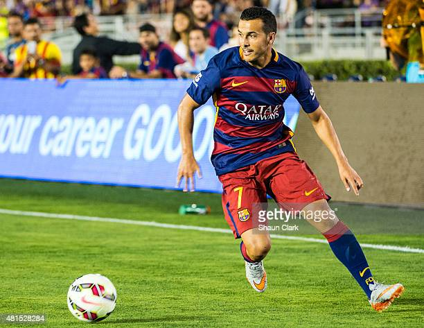 Pedro of Barcelona brings the ball down the wing during the International Champions Cup 2015 match between FC Barcelona and Los Angeles Galaxy at the...