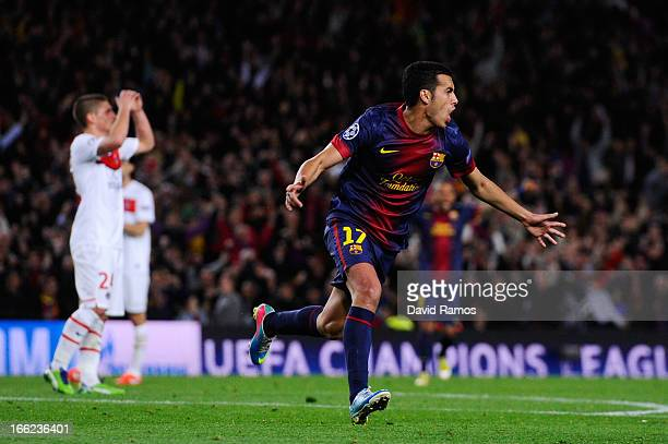 Pedro of Barcelona celebrates scoring their first goal during the UEFA Champions League quarterfinal second leg match between Barcelona and Paris St...