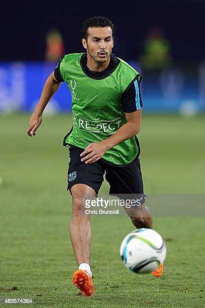 Pedro of Barcelona in action during a training session ahead of the UEFA Super Cup match between Barcelona and Sevilla FC at Dinamo Stadium on August...