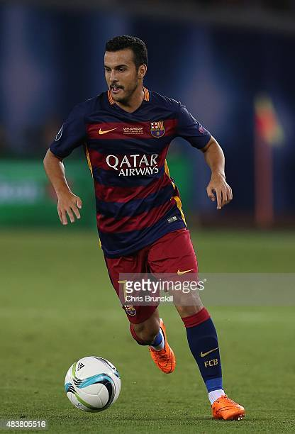 Pedro of Barcelona in action during the UEFA Super Cup match between Barcelona and Sevilla FC at Dinamo Stadium on August 11 2015 in Tbilisi Georgia