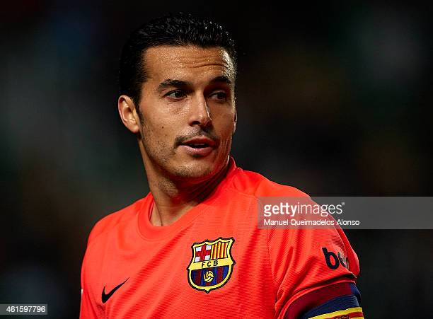 Pedro of Barcelona looks on during the Copa del Rey Round of 16 Second Leg match between Elche FC and FC Barcelona at Estadio Manuel Martinez Valero...