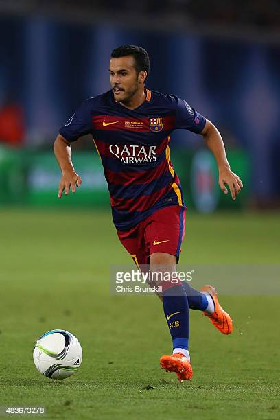 Pedro of Barcelona on the ball during the UEFA Super Cup between Barcelona and Sevilla FC at Dinamo Arena on August 11 2015 in Tbilisi Georgia