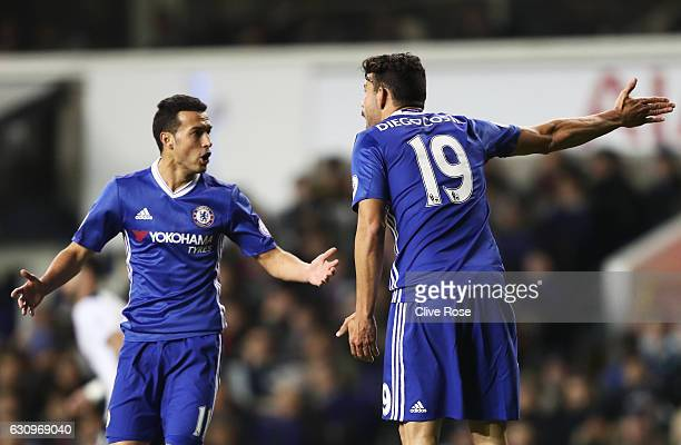 Pedro of Chelsea and Diego Costa of Chelsea argue during the Premier League match between Tottenham Hotspur and Chelsea at White Hart Lane on January...