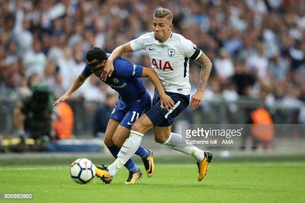 Pedro of Chelsea and Toby Alderweireld of Tottenham Hotspur during the Premier League match between Tottenham Hotspur and Chelsea at Wembley Stadium...
