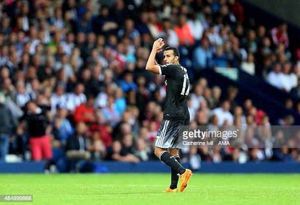 Pedro of Chelsea applauds as he comes off during the Barclays Premier League match between West Bromwich Albion and Chelsea on August 23 2015 in West...