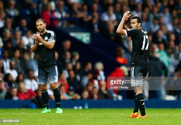 Pedro of Chelsea applauds the fans as he is substituted during the Barclays Premier League match between West Bromwich Albion and Chelsea at The...