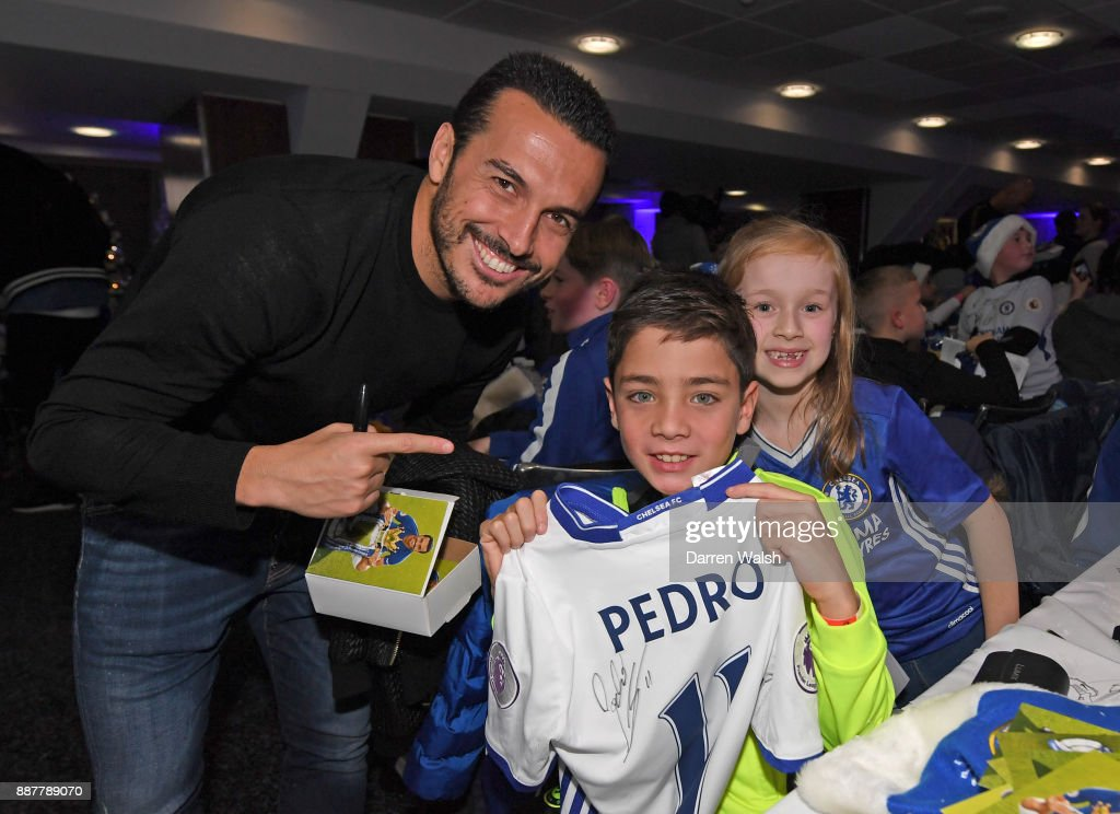 Pedro of Chelsea at the Chelsea FC kids Christmas party December 7, 2017 in London, England.