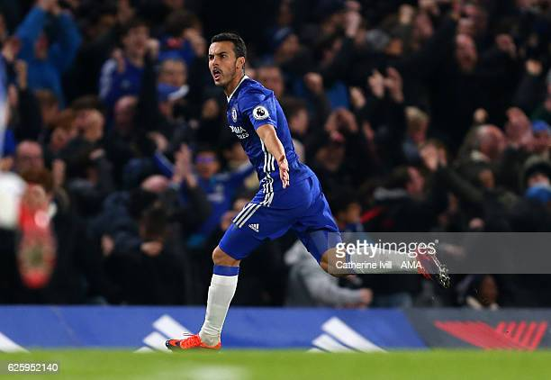 Pedro of Chelsea celebrates after he scores to make it 11 during the Premier League match between Chelsea and Tottenham Hotspur at Stamford Bridge on...