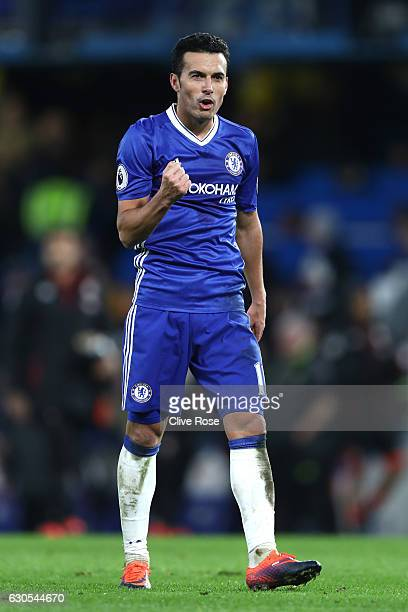 Pedro of Chelsea celebrates after scoring his second and his sides third goal during the Premier League match between Chelsea and AFC Bournemouth at...
