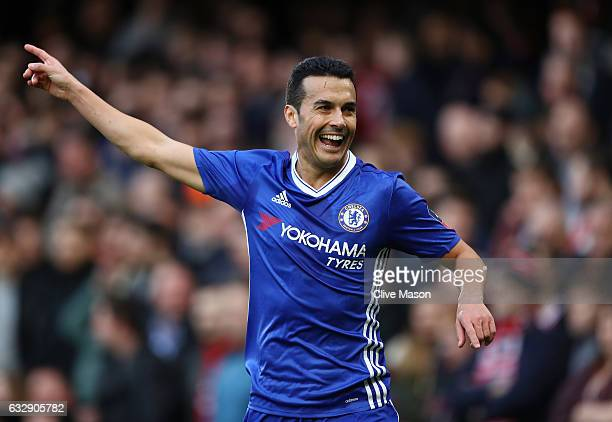 Pedro of Chelsea celebrates after scoring his sides second goal during the Emirates FA Cup Fourth Round match between Chelsea and Brentford at...