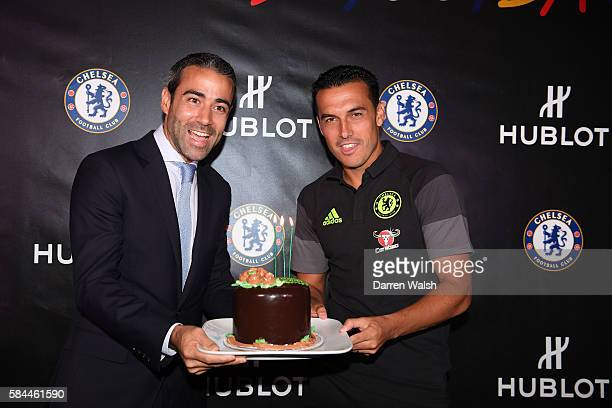 Pedro of Chelsea celebrates his birthday with JeanFrancois Sberro Managing Director Hublot North America during a Chelsea PreSeason US Tour Hublot...