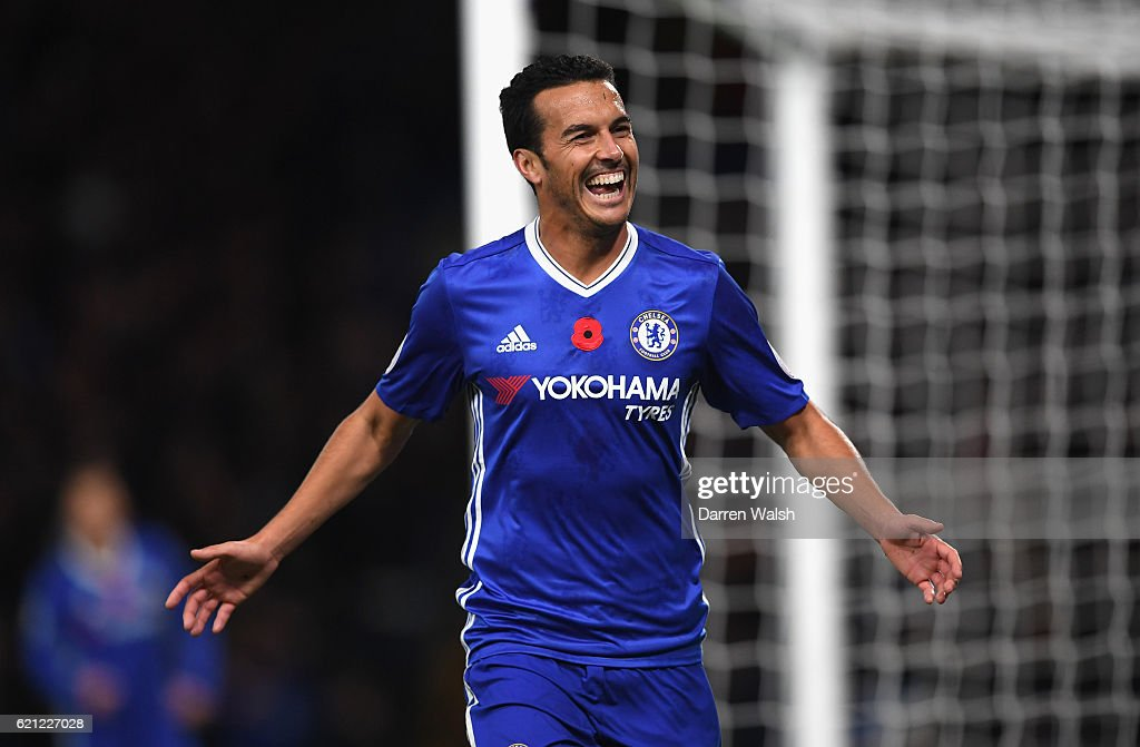 Pedro of Chelsea celebrates scoring his sides fifth goal during the Premier League match between Chelsea and Everton at Stamford Bridge on November 5, 2016 in London, England.