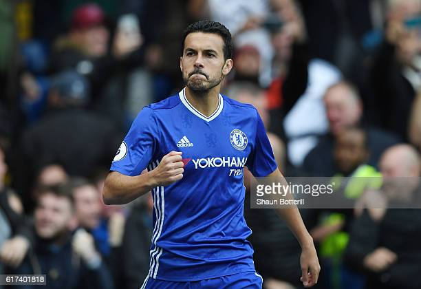 Pedro of Chelsea celebrates scoring his sides first goal during the Premier League match between Chelsea and Manchester United at Stamford Bridge on...