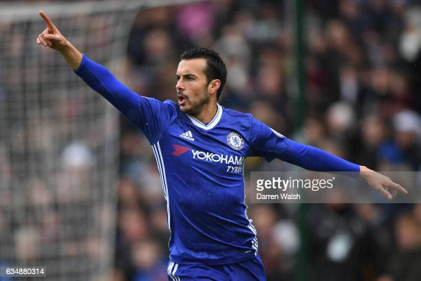 Pedro of Chelsea celebrates scoring his sides first goal during the Premier League match between Burnley and Chelsea at Turf Moor on February 12 2017...