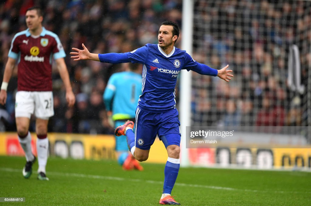 Pedro of Chelsea celebrates scoring his sides first goal during the Premier League match between Burnley and Chelsea at Turf Moor on February 12, 2017 in Burnley, England.