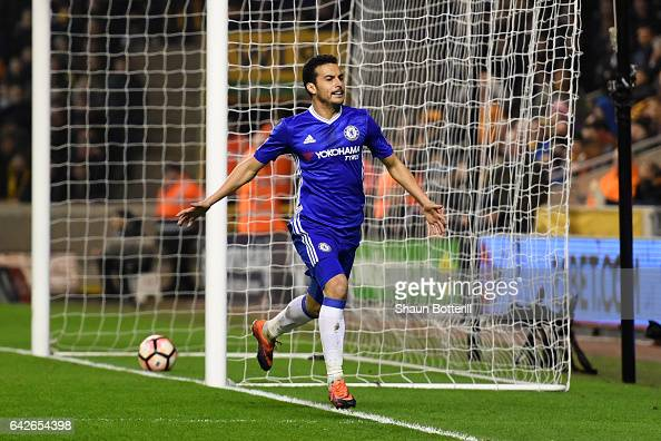 Pedro of Chelsea celebrates scoring his sides first goal during The Emirates FA Cup Fifth Round match between Wolverhampton Wanderers and Chelsea at...