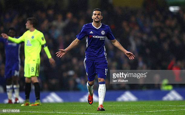 Pedro of Chelsea celebrates scoring his sides fourth goal during The Emirates FA Cup Third Round match between Chelsea and Peterborough United at...