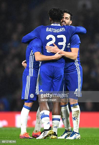 Pedro of Chelsea celebrates scoring his sides fourth goal with Michy Batshuayi of Chelsea and Cesc Fabregas of Chelsea during The Emirates FA Cup...