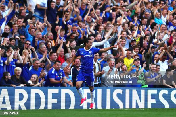 Pedro of Chelsea celebrates scoring his side's third goal during the Premier League match between Chelsea and Sunderland at Stamford Bridge on May 21...