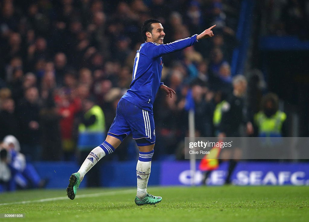 Pedro of Chelsea celebrates scoring his team's fourth goal during the Barclays Premier League match between Chelsea and Newcastle United at Stamford Bridge on February 13, 2016 in London, England.