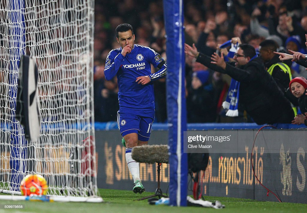 Pedro of Chelsea celebrates scoring his team's second goal during the Barclays Premier League match between Chelsea and Newcastle United at Stamford Bridge on February 13, 2016 in London, England.