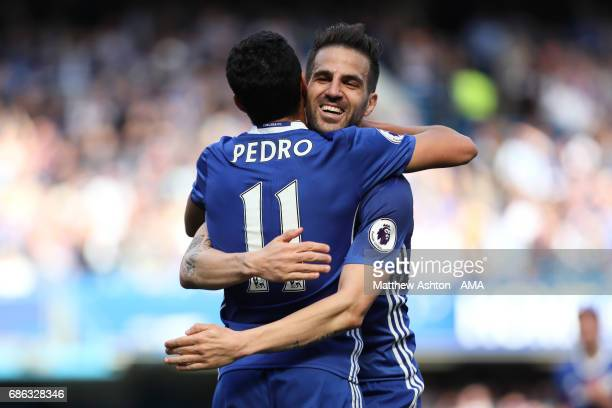 Pedro of Chelsea celebrates scoring his team's third goal to make the score 31 with Cesc Fabregas during the Premier League match between Chelsea and...