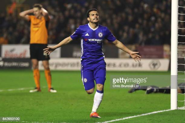 Pedro of Chelsea celebrates scoring the opening goal during the Emirates FA Cup Fifth Round match between Wolverhampton Wanderers and Chelsea at...